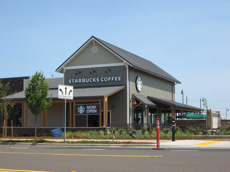 Photo Credit: GAZETTE PHOTO: RAY PITZ - Starbucks officially became the first retailer to open in the new Parkway Village at Sherwood on Aug. 5 and it didn't take long before residents found out.