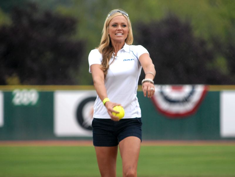 Photo Credit: PORTLAND TRIBUNE: DAVID BALL - Jenny Finch threw out the first pitch to get the semifinals started Tuesday afternoon.