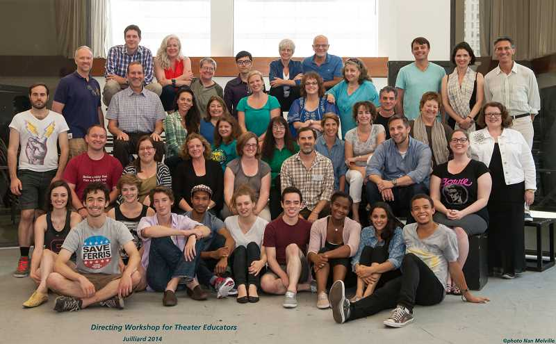 Photo Credit: SUBMITTED PHOTO: NAN MELVILLE - The Juilliard School chose 25 teachers from a national pool for the Directing Workshop for Theater Educators. They got support from young actors, who are shown in the front row. Bob McGranahan is in the black T-shirt in one of the middle rows on the right-hand side.