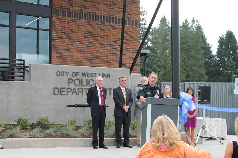 Photo Credit: TIDINGS PHOTO: PATRICK MALEE - Police Chief Terry Timeus said he couldn't be prouder to introduce the new police station, which will be officially up and running Aug. 25.