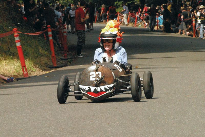Photo Credit: COURTESY OF PDX ADULT SOAP BOX DERBY - Creativity, piloting and speed - relatively speaking - are part of the fun in the PDX Adult Soap Box Derby, which will be held at Mt. Tabor, Aug. 16.