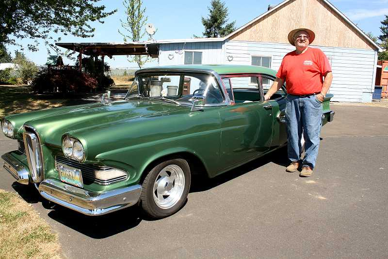 Photo Credit: POST PHOTO: LAURA KNUDSON  - Carl Milne, co-owner of Loop Hi-Way Towing and president of the Route 26 Cruisers, will show his 1958 Edsel at Oktoberfest.