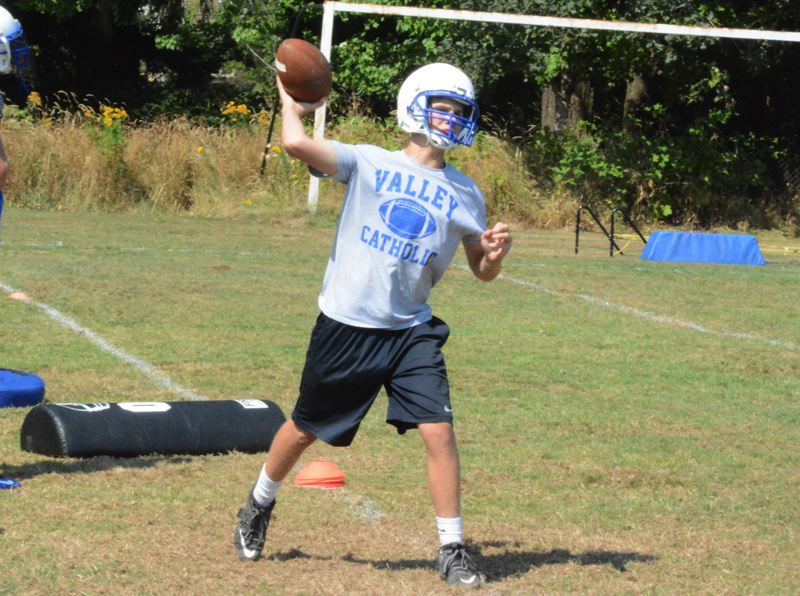 Photo Credit: TIMES PHOTO: MATT SINGLEDECKER - Valley Catholic sophomore quarterback Aidan Welsh started all but one of the Valiants contests last season after Carter Buuck went down with an injury.