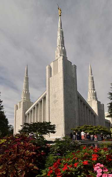 Photo Credit: REVIEW PHOTOS: VERN UYETAKE - Spires reach up to the sky on a beautiful day at the Portland Oregon Temple in Lake Oswego. The temple is celebrating its 25th anniversary this year.