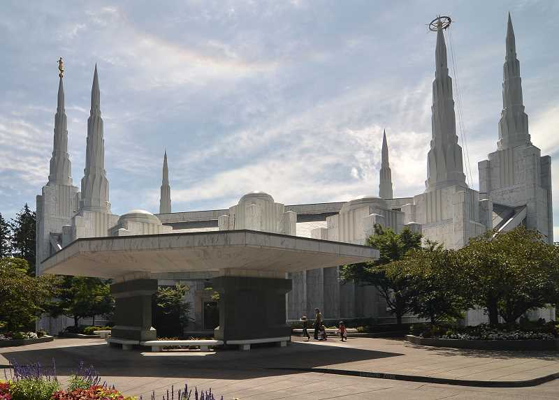 Photo Credit: REVIEW PHOTOS: VERN UYETAKE - A wide-angle view shows the impressive strength and beauty of the Mormon temple in Lake Oswego. The church attracts 2,000 volunteers a week to maintain the property.