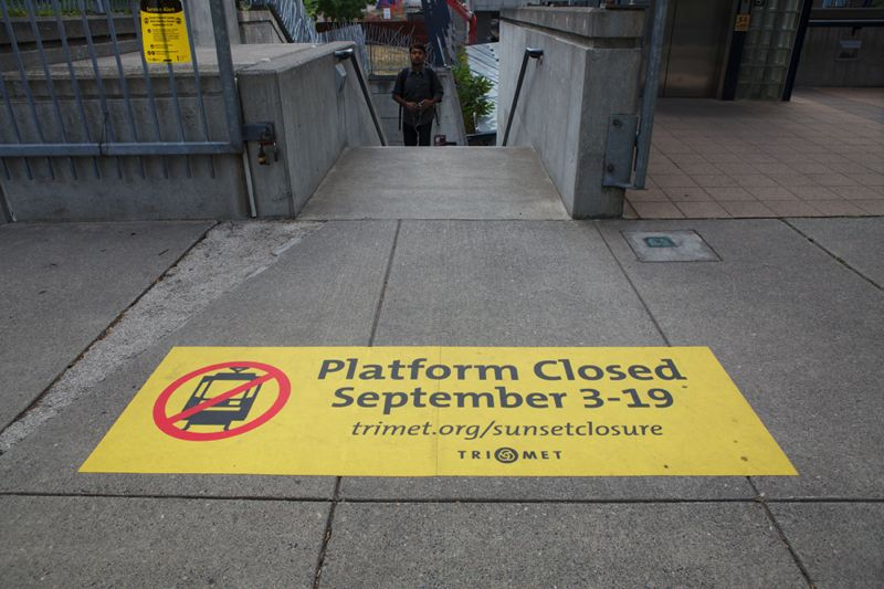 Photo Credit: TRIBUNE PHOTO JAIME VALDRZ - The MAX platform at the Sunset Transit Center will close on Sept. 3. Regular bus service will continue, the parking garage will remain open, and shuttle buses will serve MAX riders.