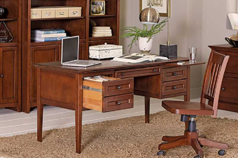 Classic Style, Modern Function. This Whittier Wood desk would look perfect in any home office.