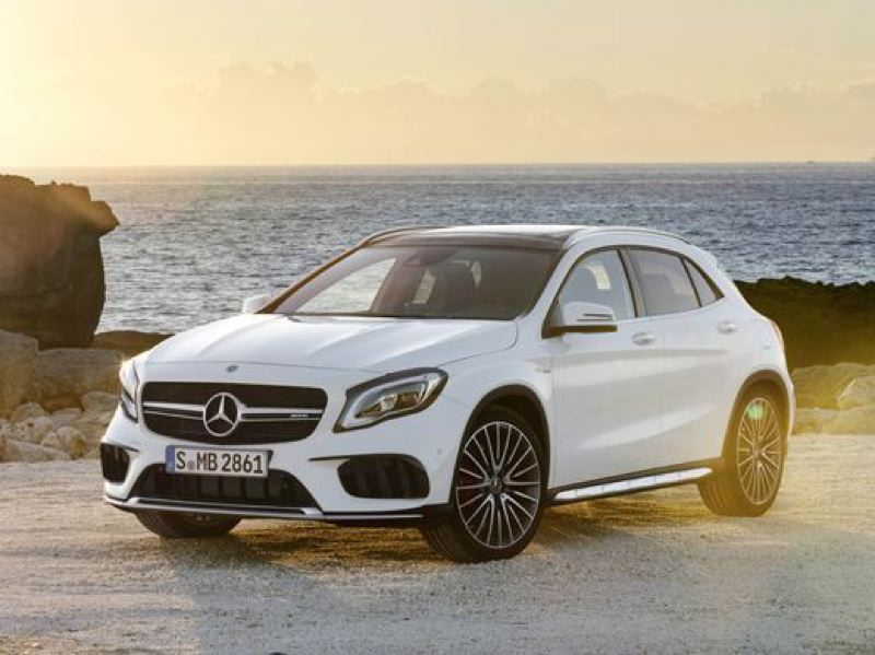 COURTESY MERCEDES-BENZ - For such a small vehicle, the GLA250 comes with a lot of Mercedes characteristics. They range from the large corporate grill and aggressive stance to the upright infotainment screen that protrudes above the aluminum dash with the large, round air vents.