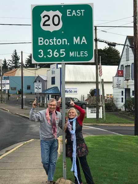 COURTESY OF JENNIFER SEUFERT - In Newport, Ore., Lynn Moyers and Sal Strom stand at the end point of their 3,365 odyssey that will start in Boston on May 1.