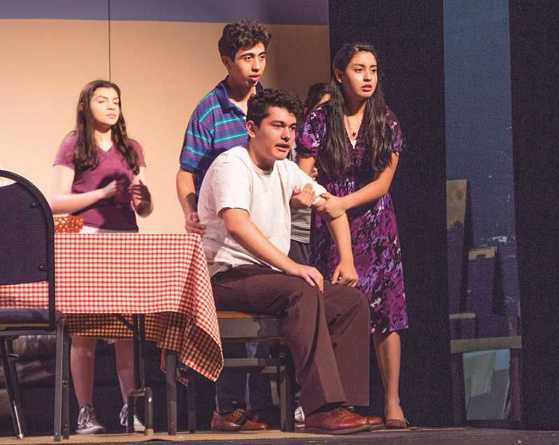 "INDEPENDENT PHOTO: JULIA COMNES - The WACA production of the Carmen Rivera play ""La Gringa"" will feature performances from two casts, one Spanish-speaking and one English-speaking. (Pictured from left) Stacy Loza, Zimri Torres, Edgar Nevarez and Brenda Ortega play characters Iris, Victor, Manolo and Norma, respectively, in the Spanish-speaking cast."