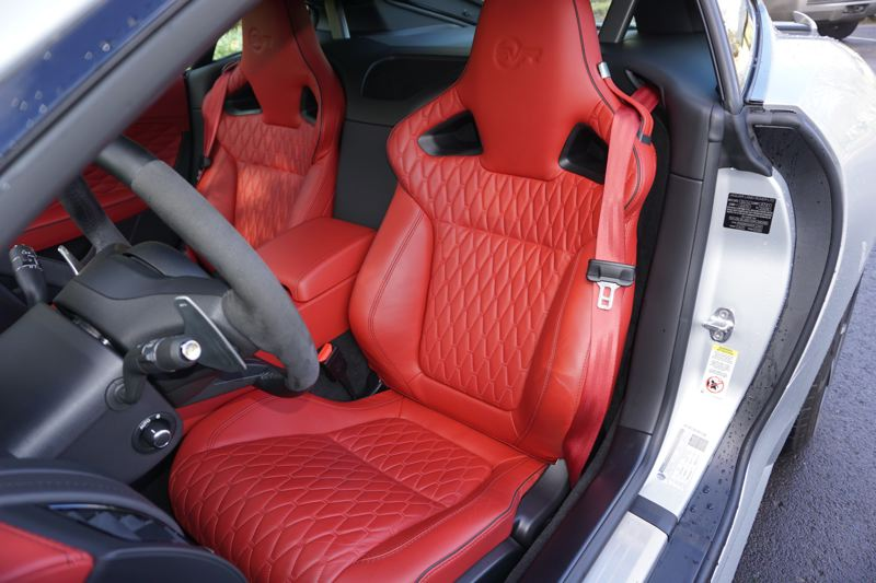 PORTLAND TRIBUNE: JEFF ZURSCHMEIDE - The F-Type is supremely comfortable. The seats in the SVR are quilted leather, and they hold you firmly in place, yet they're not too tight as other brands sometimes are.