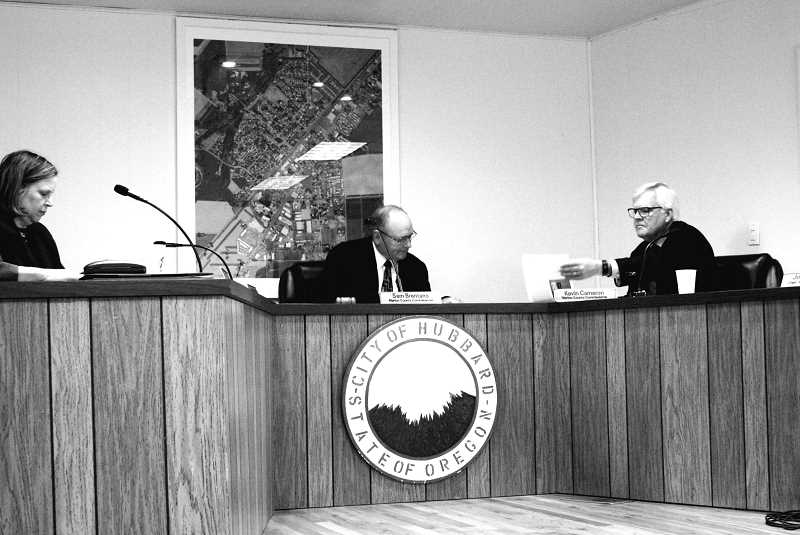 LINDSAY KEEFER - (From left) Marion County Commissioners Janet Carlson, Sam Brentano and Kevin Cameron held their weekly board session in Hubbard City Hall last Wednesday, where they heard from northern Marion County stakeholders.