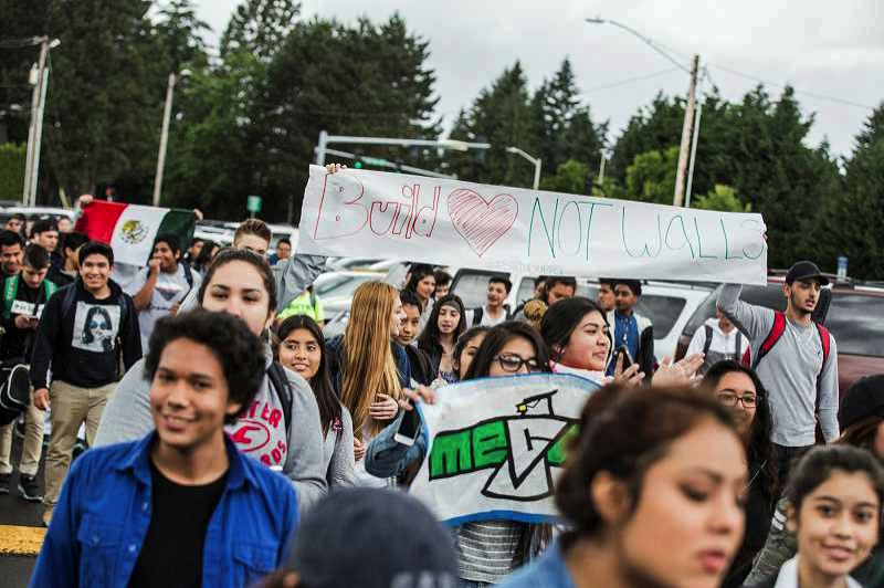 FILE PHOTO: JONATHAN HOUSE - Students at Tigard and Tualatin high schools walked out of class on May 19, 2016, to protest racism in schools and the community.