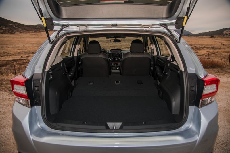 COURTESY SUBARU - Cargo space is enormous in the hatchback version of the 2017 Subaru Impreza.