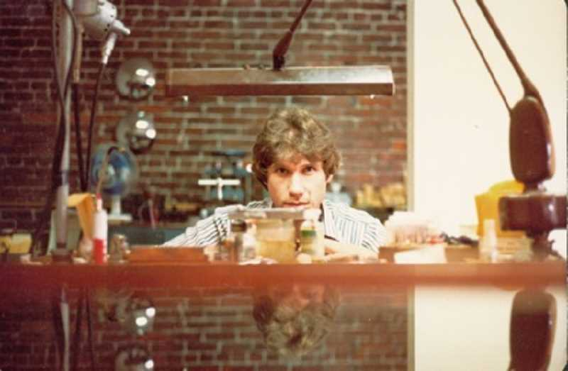 COURTESY PHOTO - Tom Jones at his workspace in the early days of establishing himself in the Portland jewelry scene: He began his operation, first called Element 79 then Jones & Jones, back in 1977.