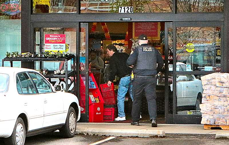 DAVID F. ASHTON - When a suspected shoplifter got physical with employees and customers, police arrived at the Inner Southeast Grocery Outlet Bargain Market on S.E. Flavel Street.