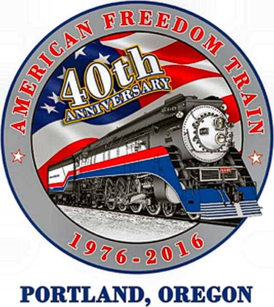 Heres last years official logo of the American Freedom Train Foundation - featuring the City of Portlands historic steam locomotive, SP 4449.