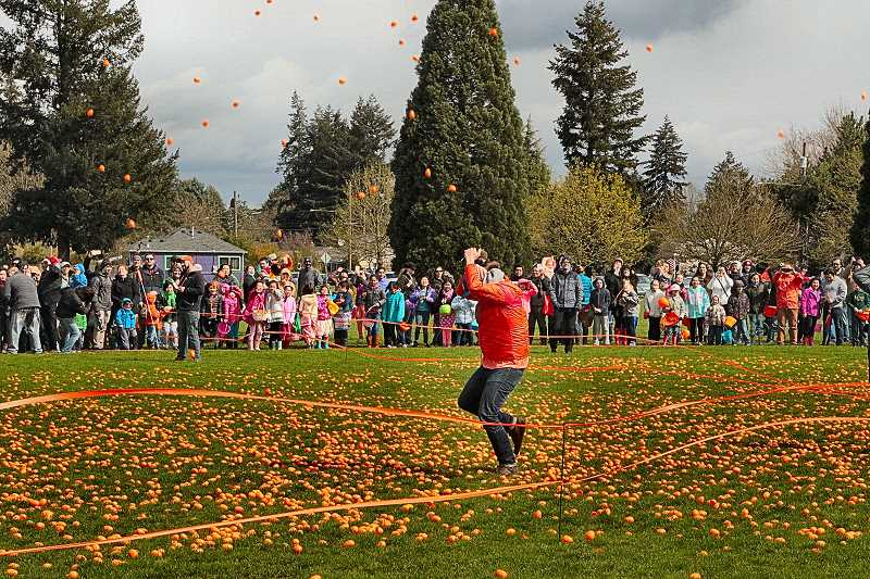 DAVID F. ASHTON - The crowd cheers as Hope City Church Pastor Brian Becker is pelted by hundreds of orange Easter Eggs dropped from a hovering helicopter over Brentwood Park.