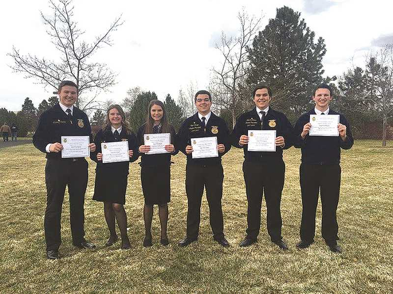PHOTO COURTESY OF MACKENZIE BEHRLE  - State FFA Degree recipients 2017 are, (L-R): Artemy Ivanov, Halie McCloud, Kayla Burns, Ryan Dunigan, John Cross and Seth Ettestad