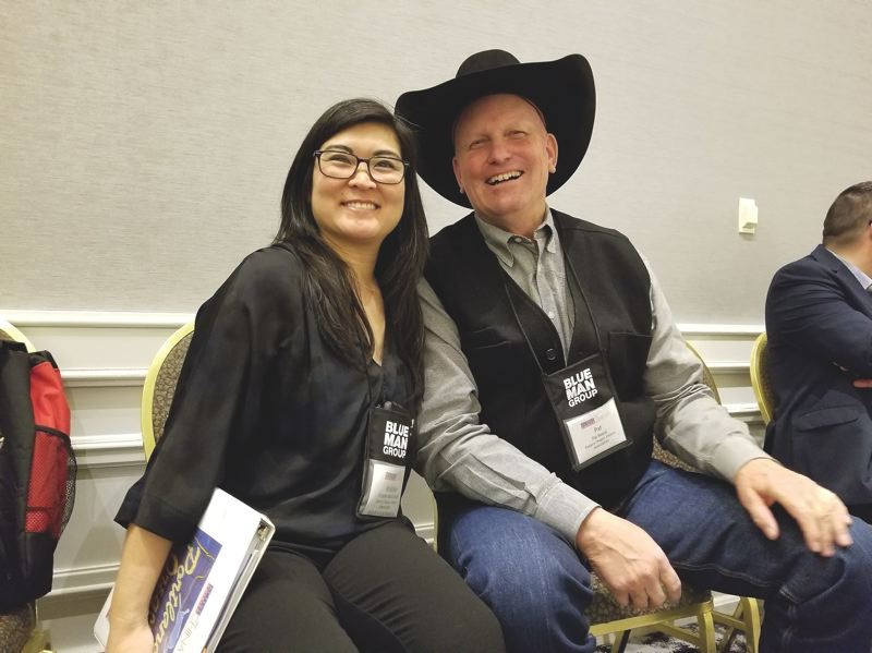 PAMPLIN MEDIA GROUP: JOSEPH GALLIVAN - Pat Beard of Travel Pendleton and Kristine McConnell of Visit Central Oregon, chat before sitting down one-on-one with dozens of Chinese buyers who want to hear about Oregon's version of the Western experience, and golf.