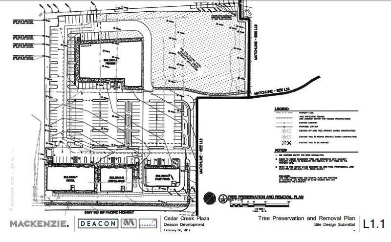 COURTESY OF DEACON DEVELOPMENT GROUP - This overhead schematic shows how some of commercial retail/restaurant space would fit in the proposed complex. An entrance is planned where the black line on the right is shown with the remaining building to the other side of that entrance.