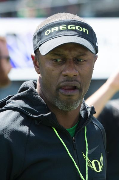 TRIBUNE PHOTO: CHRISTOPHER OERTELL - Oregon Ducks coach Willie Taggart checks the sideline during the spring game Saturday at Autzen Stadium.