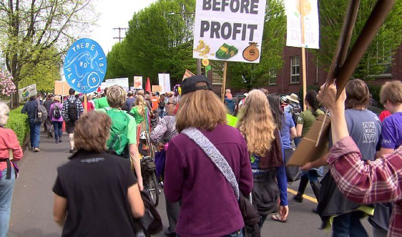 KOIN 6 NEWS - Hundreds marched against the Trump Administration's climate change policies on April 29 in Portland.
