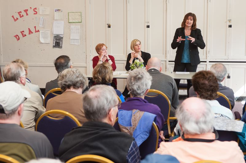 PORTLAND TRIBUNE: DIEGO G. DIAZ  - From left, state representatives Margaret Dougherty, Jennifer Williamson and Ann Lininger listened to local residents during a Saturday town hall.