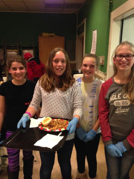 SUBMITTED PHOTOS - Celebrating Abby's 12th birthday at the Clackamas Service Center are, from left, Saraya Dilsaver, Abby Sanderson, Morgan Johnson and Avery Melton.