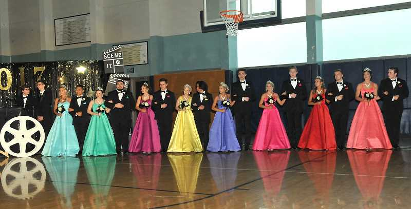 SPOKESMAN PHOTO: ANDREW KILSTROM - The 2017 Wilsonville High Springfest Court welcomes the Springfest audience.