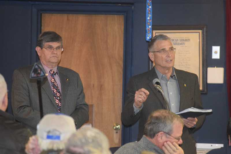 DANIEL PEARSON - Sen. Alan Olsen (R-Canby, left) and State Rep. Bill Kennemer (R-Oregon City, right) speak to citizens at the Canby American Legion Post.