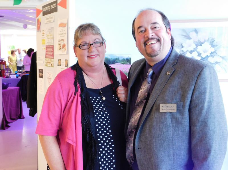 ESTACADA NEWS PHOTO: EMILY LINDSTRAND - Mary Whitney and Mayor Sean Drinkwine are all smiles at the Estacada Chamber of Commerces Spring Gala. Drinkwine said the Chamber hit it out of the park with the event.