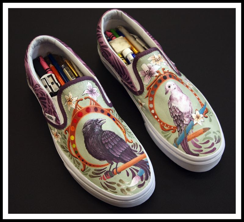 CONTRIBUTED PHOTO - Sandy High School artists' 'art' shoes depict an art nuevo yin and yang design with birds.