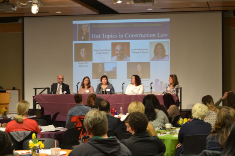 PAMPLIN MEDIA GROUP: JULES ROGERS - The panel on hot topics in construction law included moderator Martha Hodgkinson of Hogkinson Street and panelists (left to right) Roger Lenneberg from Jordan Ramis, Heather McNamee from Seifer Yeats Zwierzynski and Gragg, Angie Otto of Ball Janik, Rima Ghandour of Ghandour Law and Elizabeth Rhode-Motley from Gillaspy & Rhode.