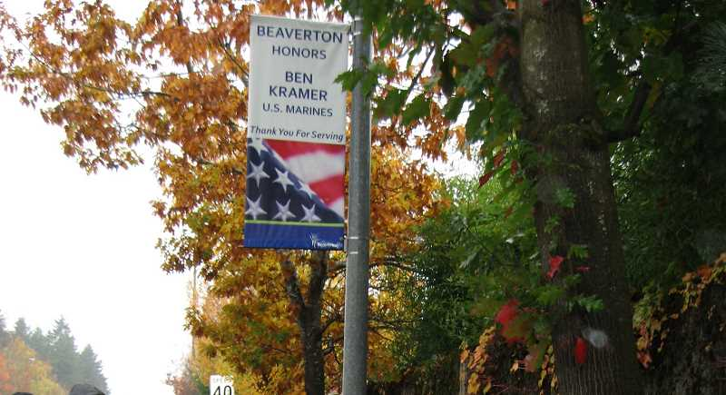 FILE PHOTO: PAMPLIN MEDIA GROUP - Sherwood and local organizers hope to install banners honoring active-duty military along Langer Farms Parkway in July, similar to what Beaverton has done (shown here) along Murray Boulevard.
