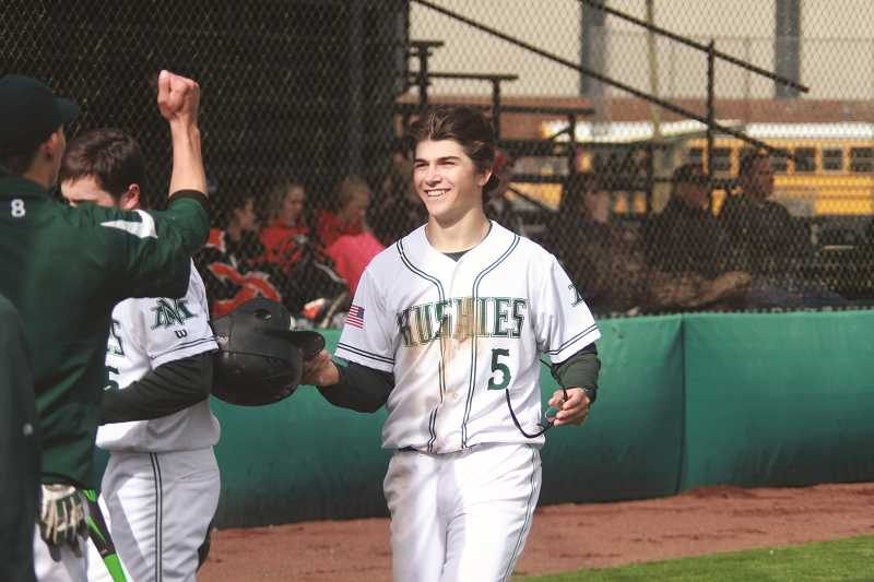 PHIL HAWKINS - North Marion leadoff hitter Andy Schmitz scored three runs in the Huskies' 10-4 win over Yamhill-Carlton on Friday. The Huskies have won six straight and nine of their past 11 games to climb into the top 10 of the OSAA rankings and vie for a bye through the play-in round of the 4A post season.