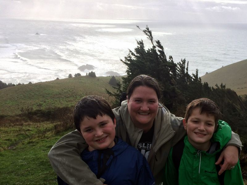 CONTRIBUTED PHOTO - Welches Principal Kendra enjoys a hike with her two sons.