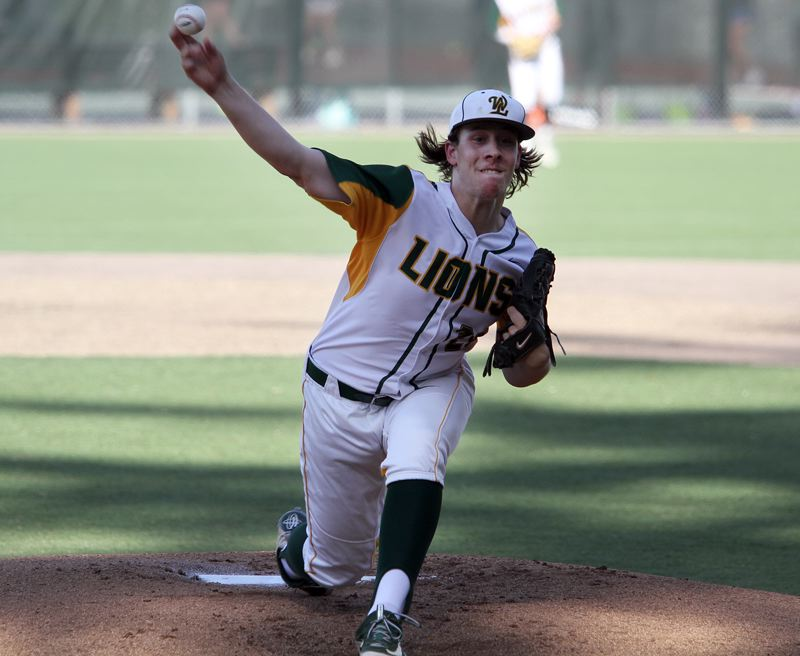 PMG PHOTO: MILES VANCE - West Linn senior right-hander Garrison Ritter threw all eight innings of his team's 1-0 Tuesday win over Lake Oswego, shutting out the Lakers on four hits and two walks while striking out eight on 96 pitches.