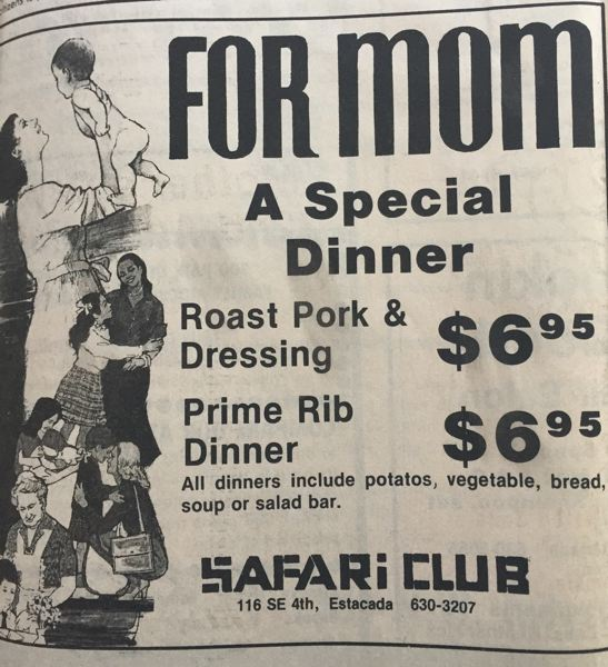 ARCHIVE PHOTO - An advertisement for the Safari Clubs special mothers day dinner from the 1980s is pictured. The Mother's Day events at the Safari Club were quite popular among families.