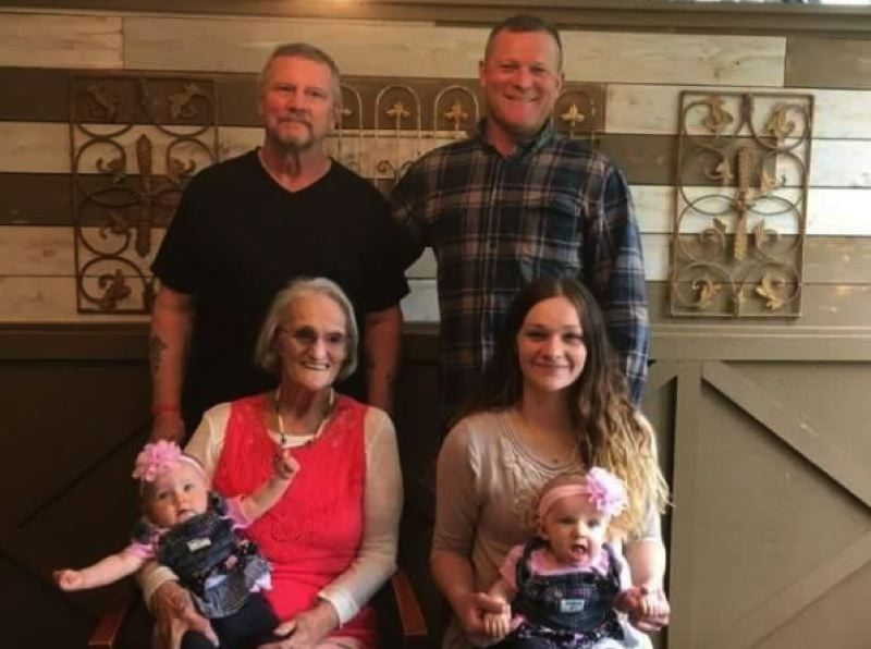CONTRIBUTED PHOTO - Jeanne Holden, David Staigle, David Staigle Jr., Jessica Staigle, Danielle Paola and Desirae Paola recently gathered at the Cazadero Inn to take a photo celebrating five generations of their family.