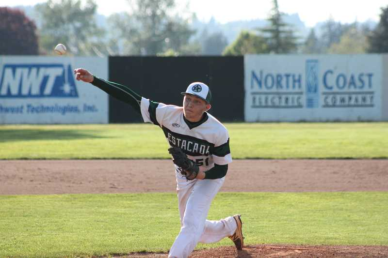 PIONEER PHOTO: CONNER WILLIAMS  - Estacada senior winning pitcher Andrew Avants delivers a pitch during the Rangers' 3-2 win over Molalla in extra innings Tuesday to secure the Tri-Valley title. Avants recorded a season-high 11 strikeouts during the game.