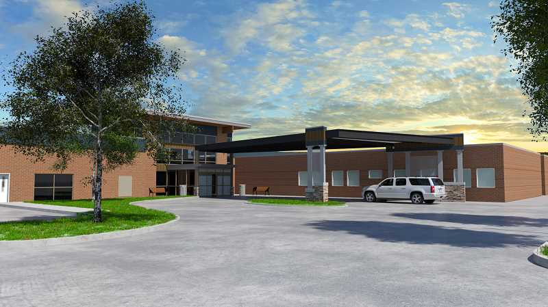 SUBMITTED ILLUSTRATION - The third phase of construction at St. Charles Madras will include a new main entrance on the east side of the hospital.