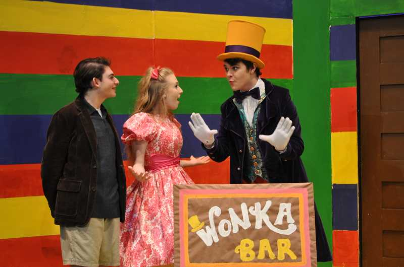 "BLAIR STENVICK - Jacob Resnikoff, Emily Rinehart and Ben Caldwell star in Tigard High's ""Charlie and the Chocolate Factory."""