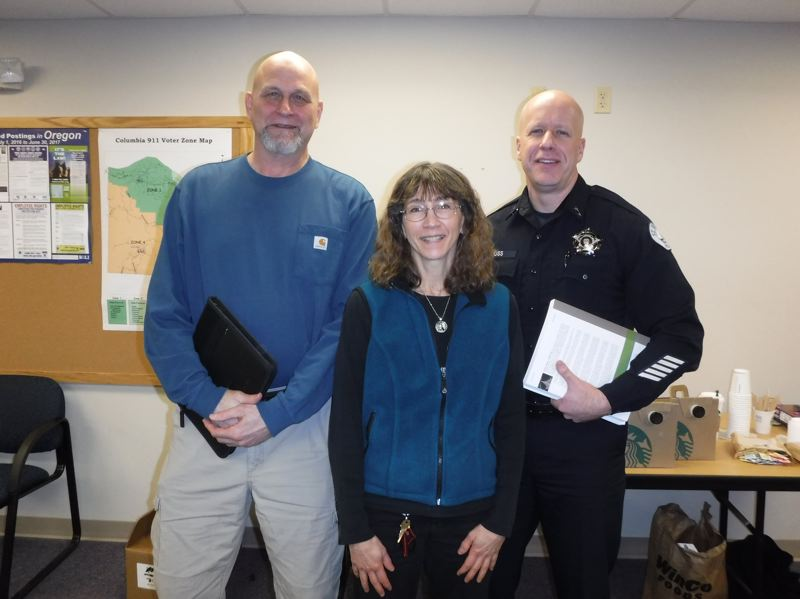 PHOTO COURTESY OF NAMI COLUMBIA COUNTY - Ellis Amdur of Edgework, NAMI volunteer Teri Robinson, and St. Helens Police Chief Terry Moss during a 'Thin Blue Lifeline' crisis intervention training for first responders in Februrary. NAMI will hold its annual fundraiser 5K walk next Sunday, May 21, in Portland to support programs for training and mental health support.