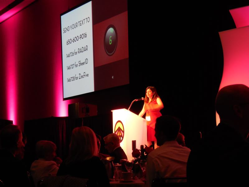 PAMPLIN MEDIA GROUP: JOSEPH GALLIVAN - Zapproved CEO Monica Enand MC'ing the 2017 TAO tech awards on May 11. The Most Dirsruptive category was decided by one minute of audience texting and was won by battery maker ZincFive of Wilsonville.