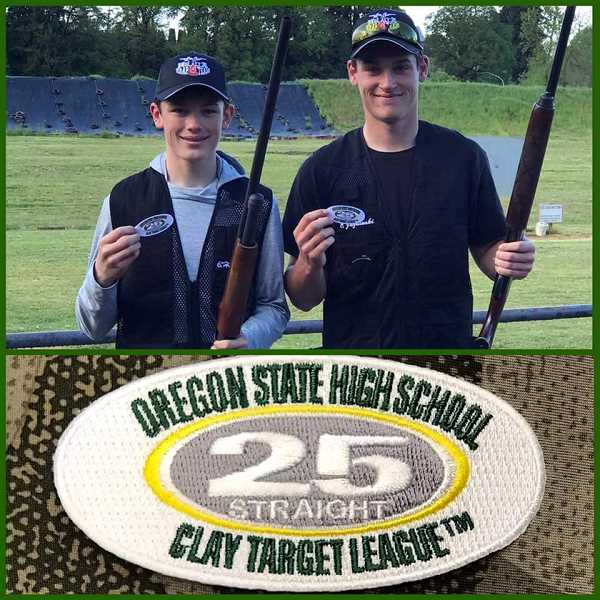 PHOTO COURTESY OF  - Brandon Harrington (left) and Chase Jazdinski, made the 25-straight club last night when they hit 25 targets in a row. They received special patches for their shooter vests.