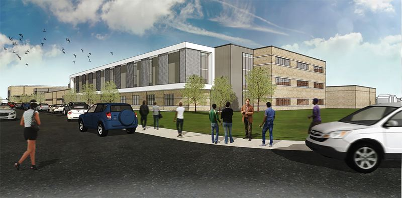 COURTESY RENDERING - This is a drawing of one possible design for the proposed new Gresham High School.