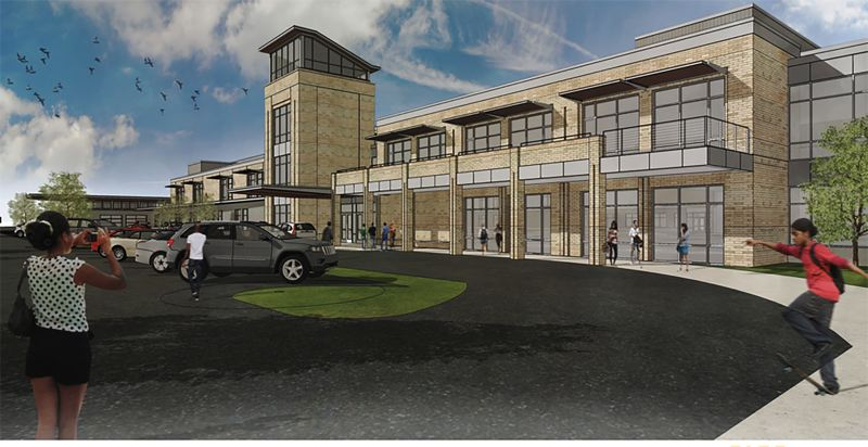 COURTESY RENDERING - This rendering shows the back of the remodeled Gresham High School, which would be the main student entrance.