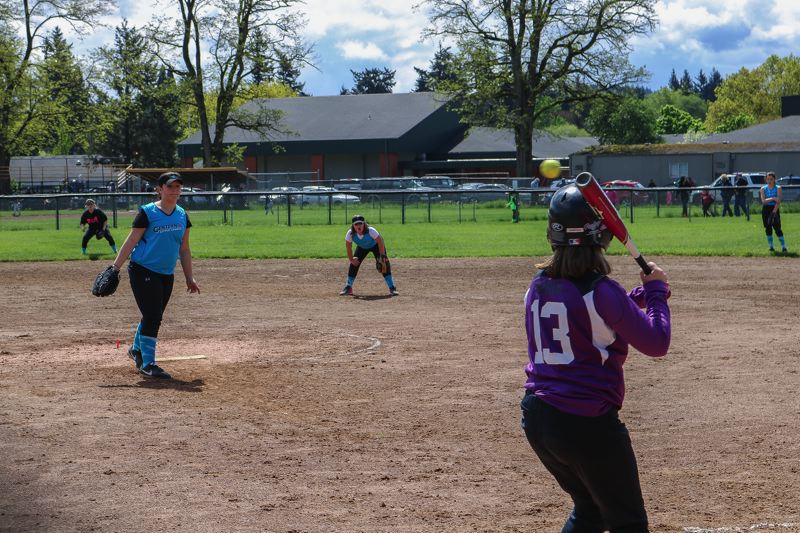 OUTLOOK PHOTO: ZANE SPARLING - Centennial Little League players prepare for another homer during a practice on Saturday, May 6, in Gresham.