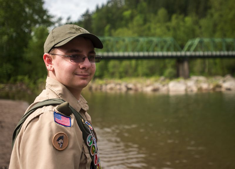 OUTLOOK PHOTO: JOSH KULLA - Gresham Boy Scout Matthew Merritt belongs to Troop 544. He recently completed his Eagle project by repainting and re-roofing a lifeguard shack that is used each summer on this Sandy River beach by American Medical Response river lifeguards.